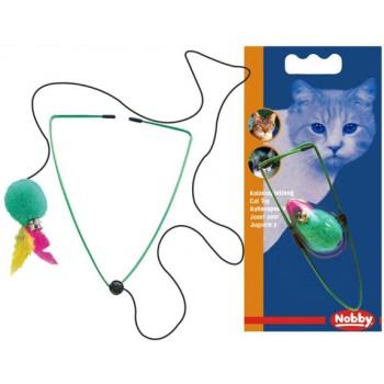 Nobby / Нобби Игрушка д/кошек Мяч с перьями на резинке 7см (1х3) 80136