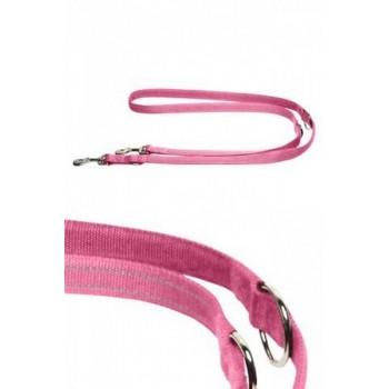 Papillon / Папиллон Светоотражающий тренировочный поводок 20мм-200см, розовый
