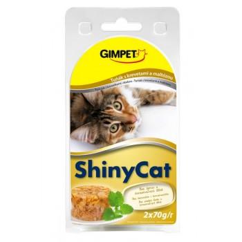 Gimpet / Гимпет Консервы Shiny Cat с тунцом, креветками и солодом в блистере д/кошек, 2*70г