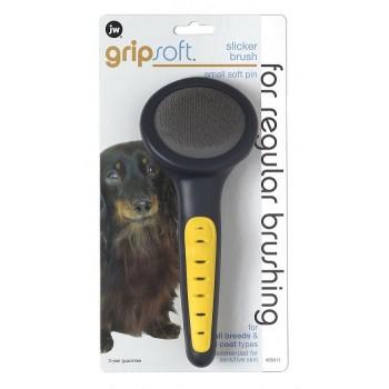 JW Щетка-пуходерка, для собак, мягкая, маленькая Grip Soft Slicker Brush Small - Soft Pin (65011)
