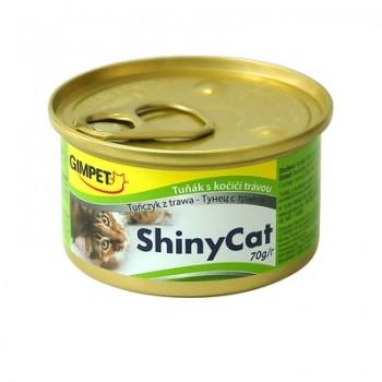 Gimpet / Гимпет Консервы Shiny Cat с тунцом и травкой д/кошек, 70г