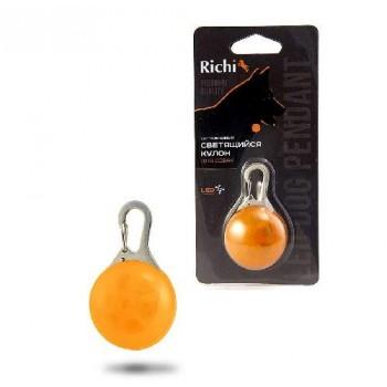 Richi / Ричи 17952 Кулон-LED оранжевый на ошейник, 3 режима, CR2032 в компл