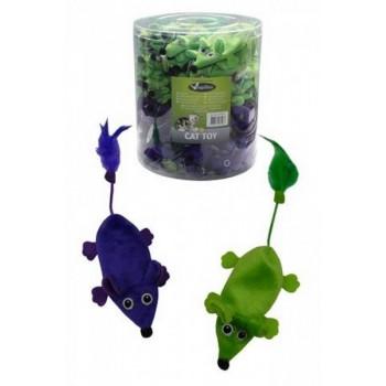 """Papillon / Папиллон Игрушка для кошек """"Плюшевые Мышки, зеленые и фиолетовые"""" 60х11см"""