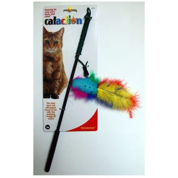 JW Игрушка д/кошек - Дразнилка с перьями, блестящая Wanderfuls (71019)