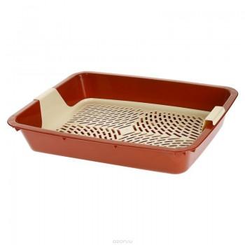 Туалет Догман д/кошек с решеткой глубокий 42,5*31*8см