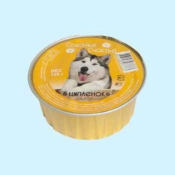 Собачье счастье кон.д/собак Цыпленок 125г