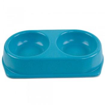Bobo / Бобо Миска двойная, 25x14x4.5 см, 180+180 мл, синий