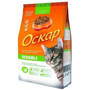 Оскар сухой Sensible, для кошек. с плохим пищеварен. и привередл. к еде 0,4 кг