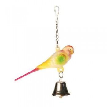 Trixie / Трикси 5309 Игрушка д/птиц Пластиковый попугай с колокольчиком на цепочке 9см
