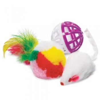 Triol / Триол Набор игрушек XW0028 для кошек (мяч, мышь, шар),d40мм; 45мм; d40мм