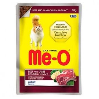 Ме-О Adult пауч д/кошек Говядина и ягненок в соусе 80г 15500