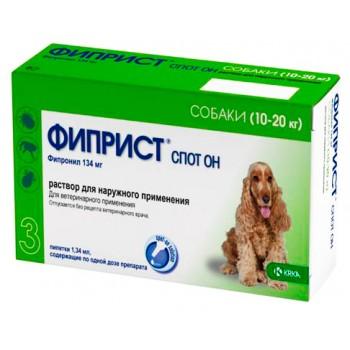 ФИПРИСТ KRKA спот он для собак весом 10-20 кг капли от блох и клещей 134 мг (фипронил)