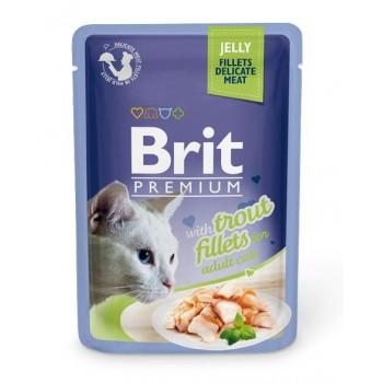 Brit / Брит премиум Пауч д/кошек JELLY Trout fillets Кусочки из филе форели в желе 85 г,