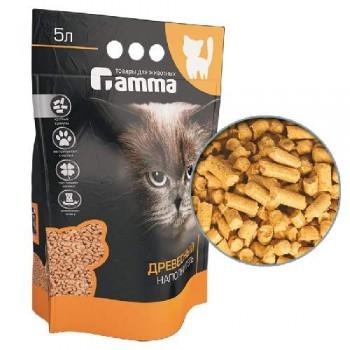 Gamma / Гамма Наполнитель для кошачьих туалетов Gamma 5л, древесный впитывающий, крупные гранулы