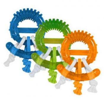 JW Игрушка д/собак - жевательное кольцо с канатами, каучук, д/мелких и средних собак Play Place Ring Dog Chew Toy (43610)