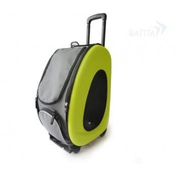 Ibbiyaya складная сумка-тележка 3 в 1 для собак до 8 кг (сумка, рюкзак, тележка) лайм