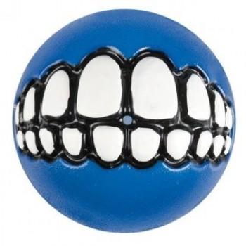 Rogz / Рогз Мяч с принтом зубы и отверстием для лакомств GRINZ средний, синий (GRINZ BALL MEDIUM)