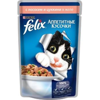 Felix / Феликс для кошек Лосось с цукини аппетитные кусочки в желе 85 гр