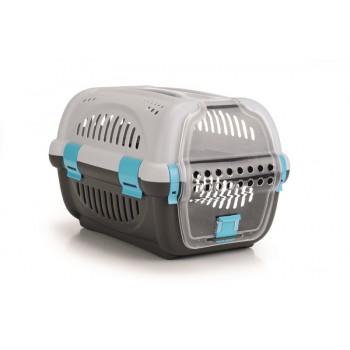 Beeztees / Бизтис 715011 Переноска для транспортировки животных серо-синяя 51*34,5*33см