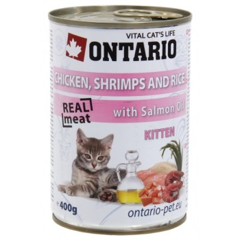 Ontario / Онтарио Консервы для котят: курица, креветки и рис 0,4 кг