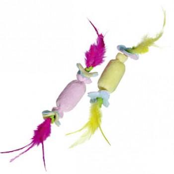 Karlie-Flamingo / Карли Фламинго Игрушка д/кошек конфета с пером, с кош.мятой 7 см, цвет в ассорт.