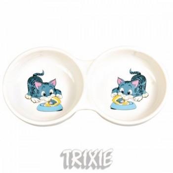"""Trixie / Трикси Миска д/кошек двойная """"Кошка"""", керамика 0,15л*ф11см 4014"""