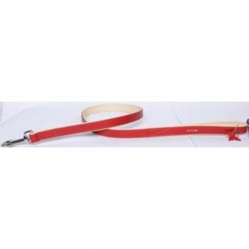 CoLLaR Brilliance Поводок кожаный двойной без украшений, 122см*25мм, красный (38903)