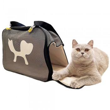 """United Pets мягкая сумка-переноска """"Mesh Bag"""" 44 х 23 х 28 см, черная/желтая"""