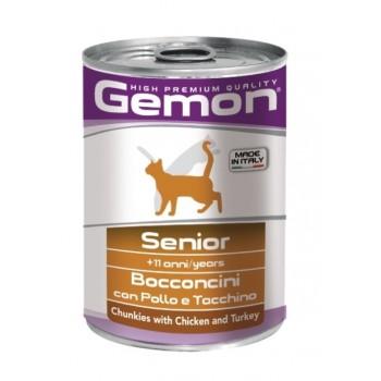 Gemon Cat консервы для пожилых кошек кусочки курицы с индейкой 415 г