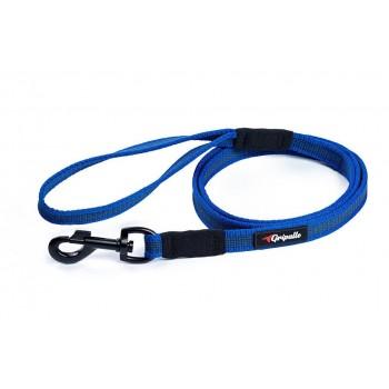 Gripalle / Грипэлле 20-150B 4367 Поводок нейлоновый прорезиненный для собак, черная стальная фурнитура 20 мм*150 см, Синий