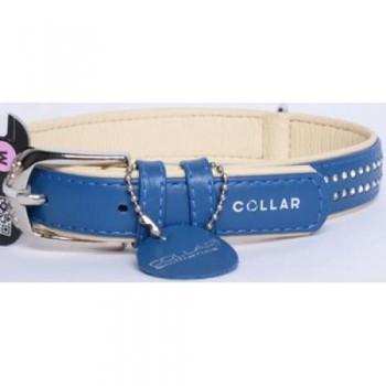 CoLLaR Brilliance Ошейник кожаный двойной со стразами маленькими, 38-49см*25мм, синий (38782)