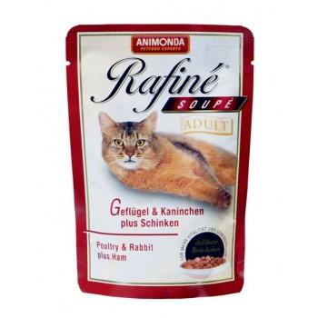 Animonda Rafine Soupe Adult конс. 100 гр. Коктейль из мяса домашней птицы, кролика и ветчины для взрослых кошек (пауч) 83655