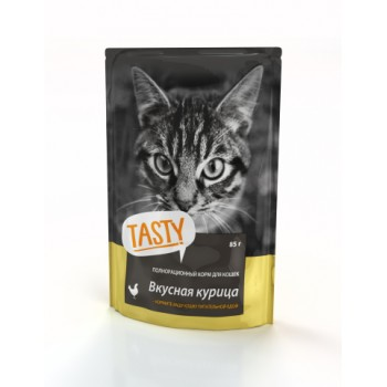 TASTY Petfood ПАУЧ д/кошек с курицей в желе 85г*25 (02TS793)