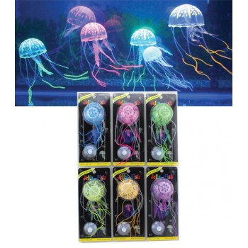 Jelly-Fish / Джелли-Фиш Медузы силиконовые с неоновым эффектом, маленькие, D=5 cм, блистерная упаковка