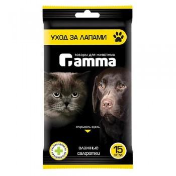 """Gamma / Гамма Влажные салфетки """"Уход за лапами"""", 200*150мм"""