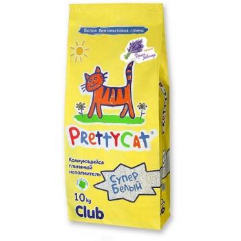 """PrettyCat Наполнитель комкующийся для кошачьих туалетов """"Cупер белый"""" с ароматом лаванды 10 кг"""