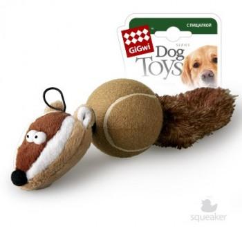 GiGwi / ГиГви Игрушка для собак Барсук с пищалками 32 см, серия CATCH & FETCH