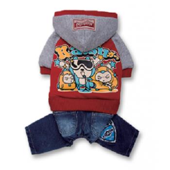 "Katsu / Катсу Комбинезон (куртка+джинсы) ""Джаз"" с капюшоном,тепл.трикотаж,разм L (34х50х30см) красный"