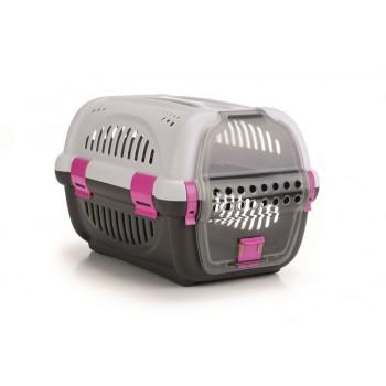 Beeztees / Бизтис 715009 Переноска для транспортировки животных серо-розовая 51*34,5*33см