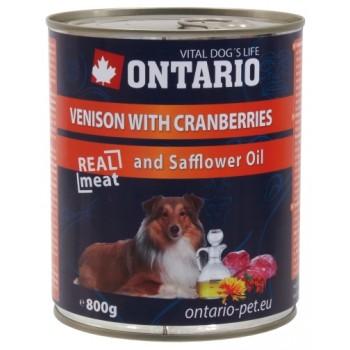 Ontario / Онтарио Консервы для собак: оленина и клюква 0,8 кг