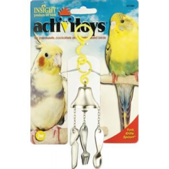 JW Игрушка д/птиц - Вилка, ножик, ложка на колокольчике, пластик, Fork, Knife, Spoon Toy for birds (31045)