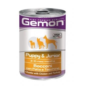 Gemon / Гемон Dog консервы для щенков кусочки курицы с индейкой 415 г