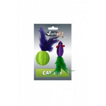 """Papillon / Папиллон Игрушка для кошек """"Мышка и мячик с перьями"""" 5+4см, нейлон"""