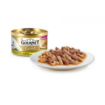 Gourmet Gold / Гоурмет Голд для кошек Кролик, Печень кусочки в подливке 85 гр