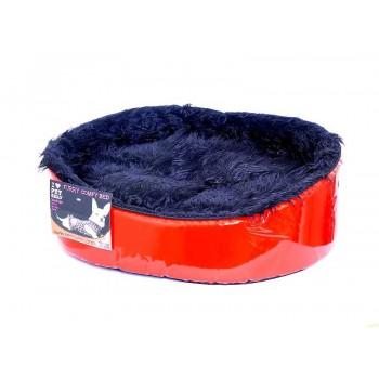 """Pet Head Мягкий лежак """"Красный лак"""" 64*53*18, большой (BED Red/Black Furry, large)"""