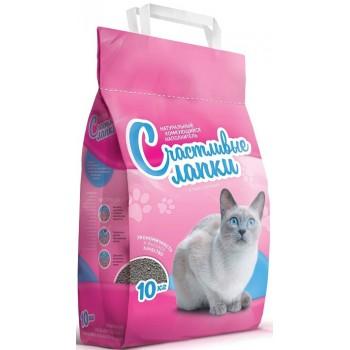 Наполнитель Счастливые Лапки д/кошек комкующийся 10кг