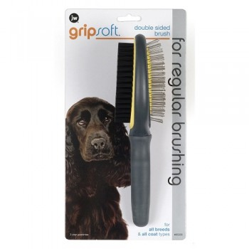 JW Щетка для собак - двухсторонняя: щетиновая+массажная, большая Grip Soft Double Sided Brush (65029)