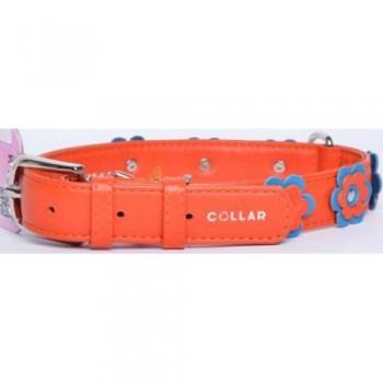 CoLLaR Glamour Ошейник кожаный, двойной прошитый с украшением аппликация, 38-49см*25мм, оранжевый (35034)