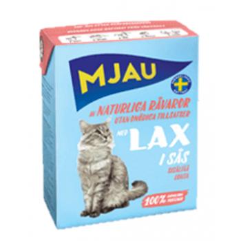 Mjau / Мяу мясные кусочки в соусе с лососем в упаковке Tetra Recart, 370гр. (1х16) 3843