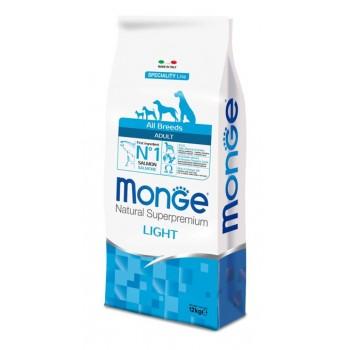 Monge / Монж Dog Speciality Light корм для собак всех пород низкокалорийный лосось с рисом 12 кг